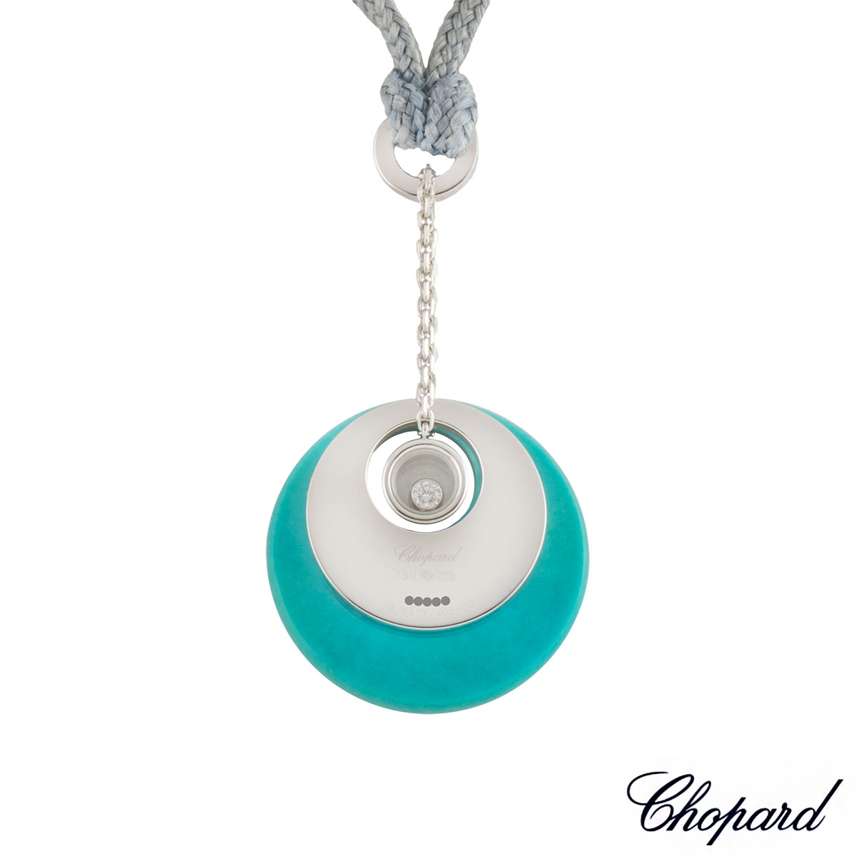 Chopard White Gold and Turquoise Happy Diamonds Pendant 79/6477/405-20